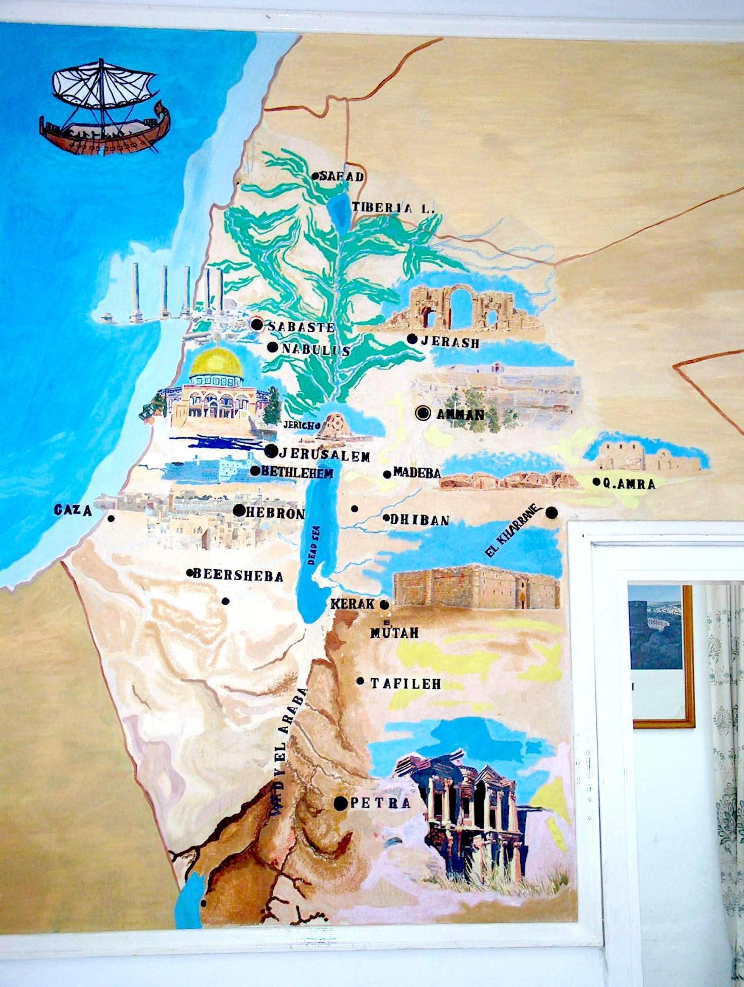 """Современная туристическакя карта Иордании (Амман). Израиль на ней отсутствует. Вся территория """"от моря до реки"""" и восточнее, якобы принадлежит Иордании."""