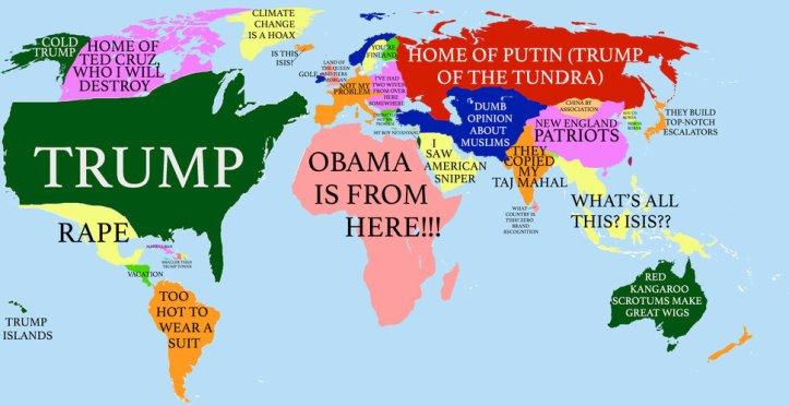Предвыборная карикатура о геополитических представлениях Трампа