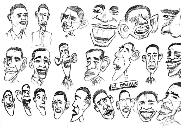 """Image result for obama caricature drawing"""""""